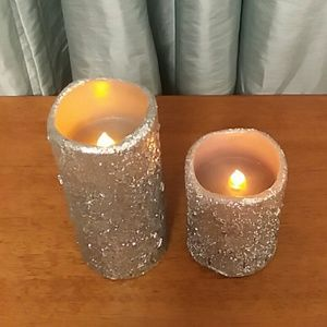 Silver Glitter Flameless Candles Set 2 with timer